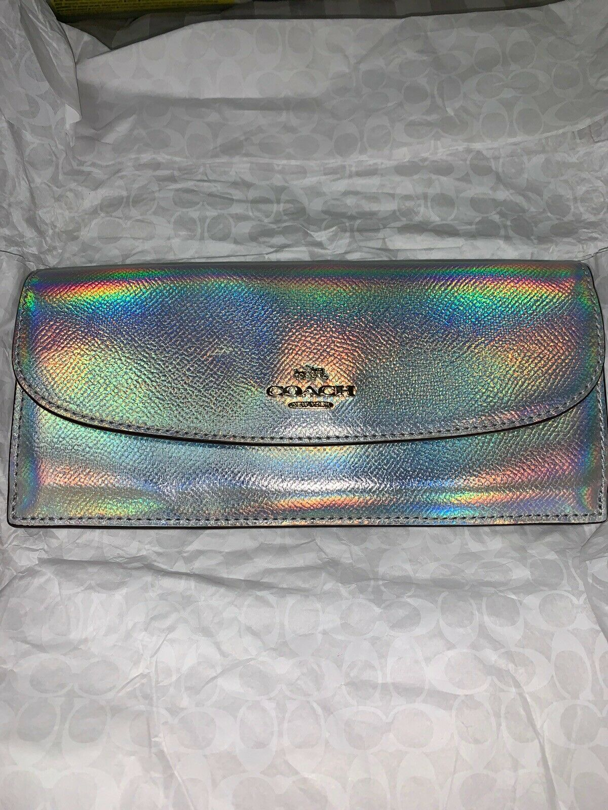 New Rare Coach Hologram Silver Iridescent Envelope Full-Sized Wallet