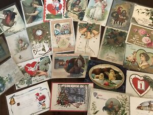 Vintage-Mixed-Lot-of-25-Holidays-amp-Greetings-Postcards-Antique-in-Sleeves-b-30