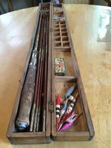 Vintage Ebisu Occupied Japan Bamboo Fly Spinning Rod Fishing Kit With Wood Box Ebay