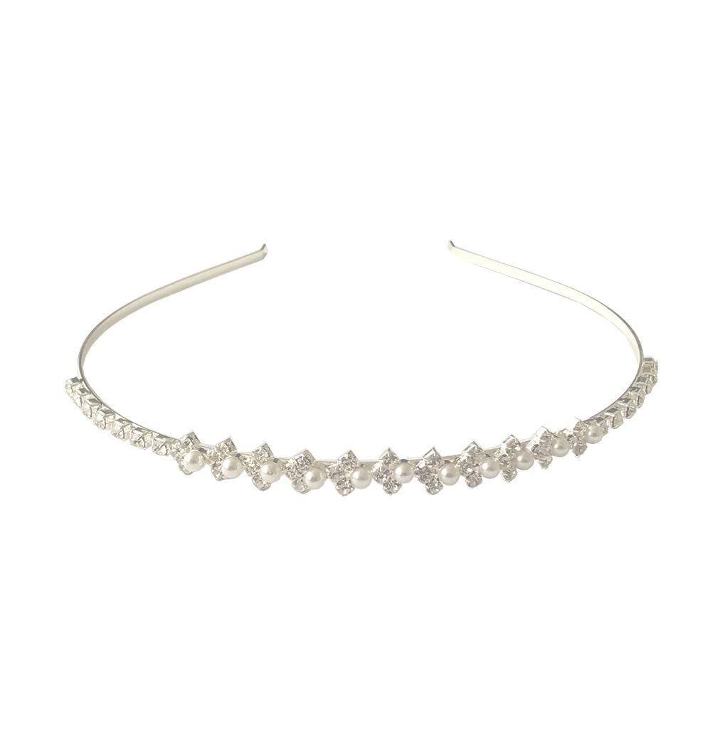 Metall Haarreifen Haarband Haarschmuck mit Ziernieten Silber  S6R3 1 Stk