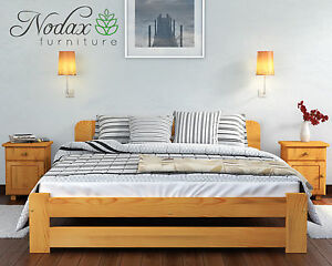 Bed 140 Cm.Brand New Solid Pine Double Bed Frame Slats European Size 140