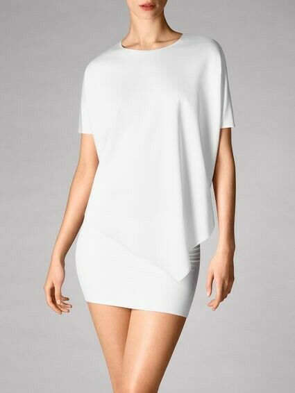 New Woherren WOLFORD Weiß Kim Asymmetric T-shirt Blouse Größe M