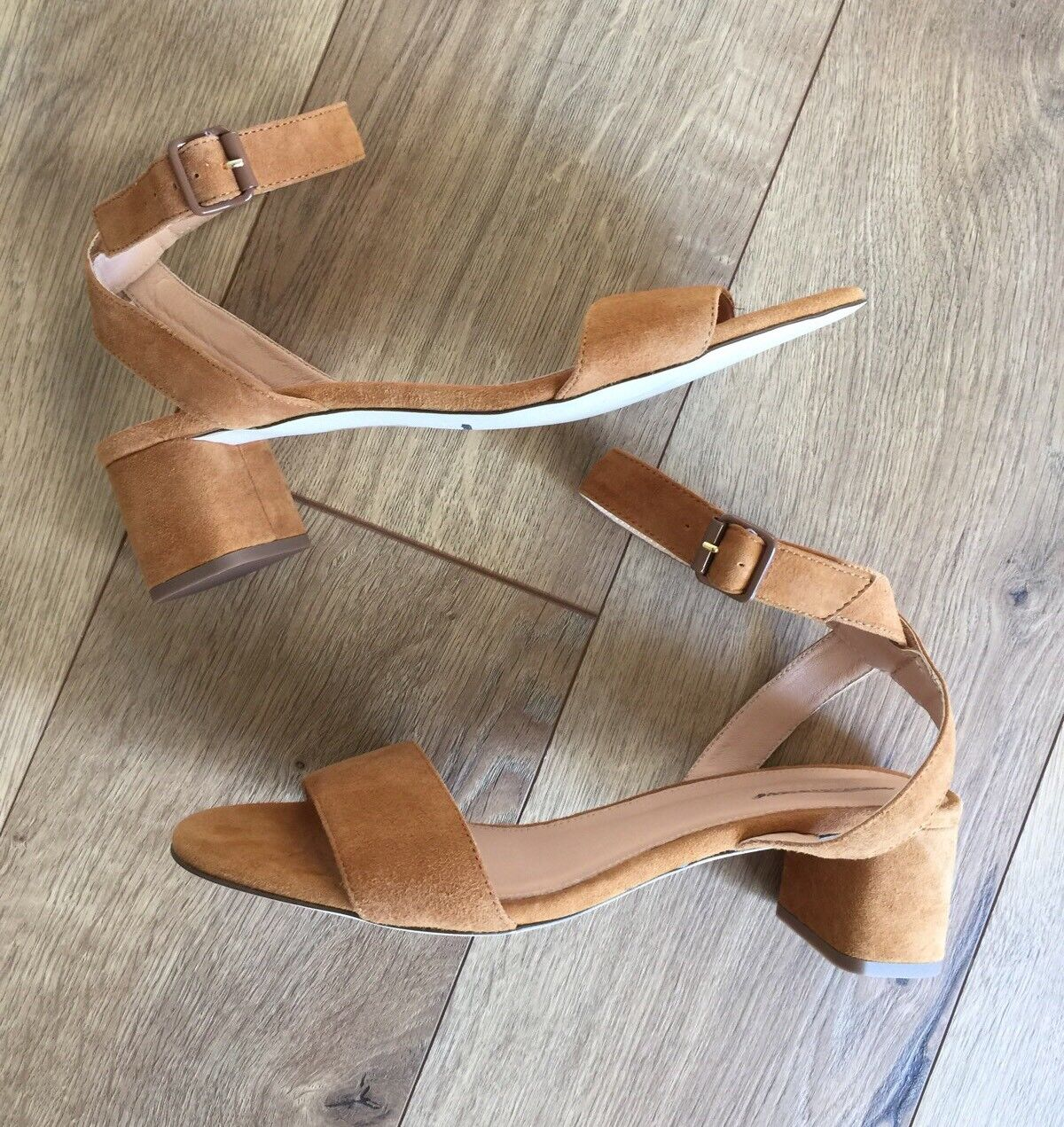 JCrew  158 Lottie Suede Sandals Sz 6.5 Roasted Cider Brown Heels shoes G4164 NEW