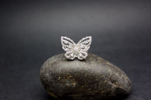 BUTTERFLY CUBIC ZIRCONIA RING set in .925 Sterling Silver FREE SHIPPING !!
