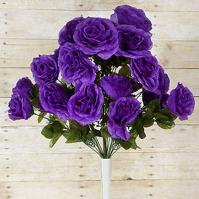 96 Purple GIANT SILK OPEN ROSES Wedding WHOLESALE Flowers Bouquets Centerpieces