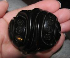 ANTIQUE VICTORIAN CARVED WHITBY JET KNOT CELTIC CHRISTIAN WHEELS MOURNING BROOCH