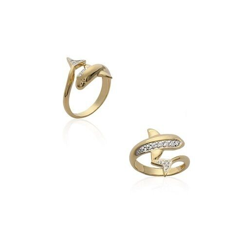 Ring Dolphin Gold Plated & Zirconium New T 64