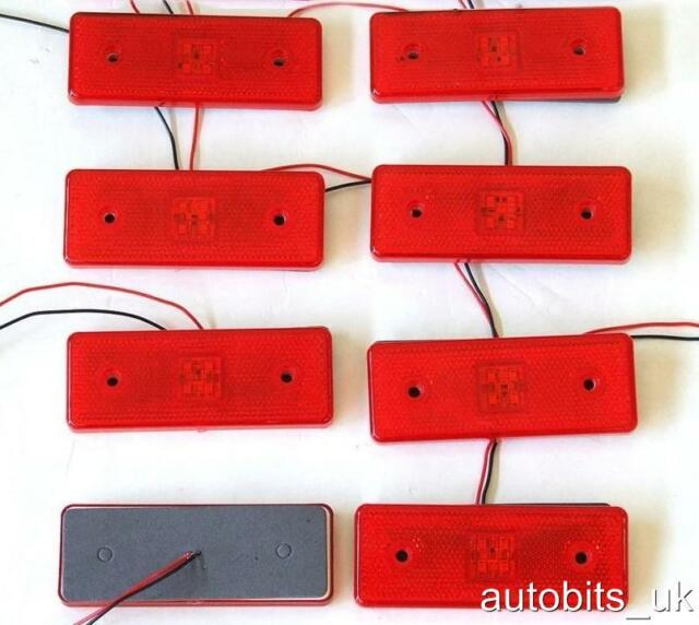 8 x LED 24V RED REAR reflector Marker Lights Truck Lorry Trailer FOAM BACKING