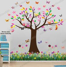 Owl Flower Tree Butterfly Grass Wall Stickers Art Decal Paper Kids Nursery Decor