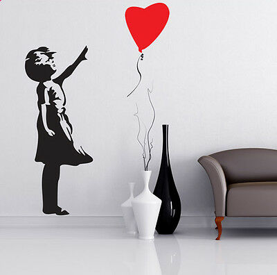 BANKSY STYLE BALLOON GIRL  WALL ART STICKER DECAL