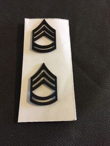US Army Sergeant First Class E-7 Rank Stripes Insignia Collar Pin Pair