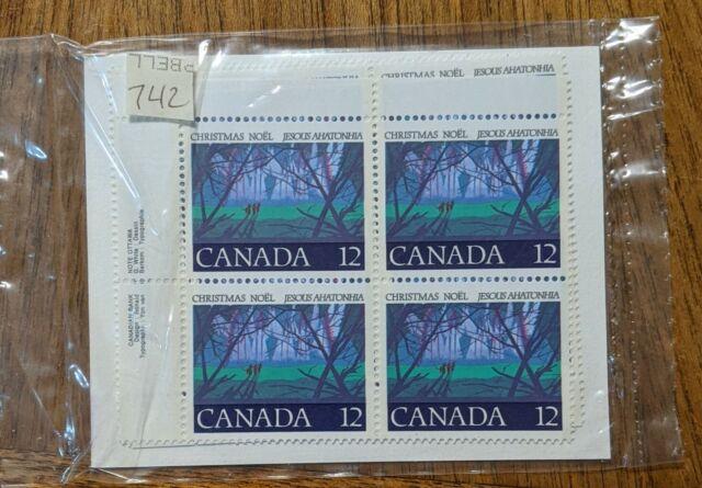 Canada Stamp #742 - Angelic Choir (1977),  set of 4 inscription blocks, VF/MNH