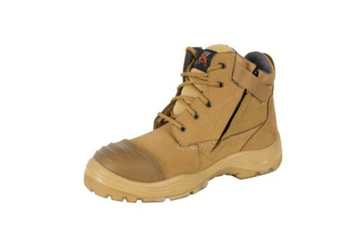 work boots zip sider nubuck wheat leather steel cap safety shoes cougar lace up