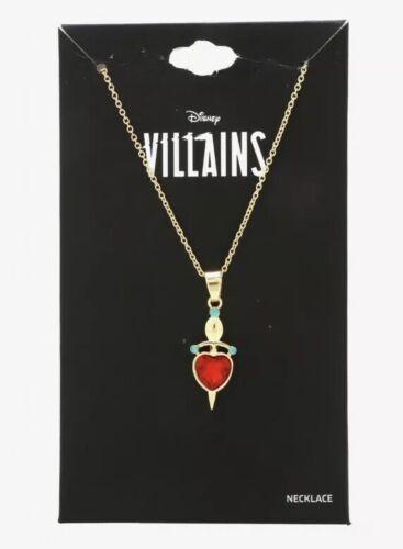 Disney Villains Evil Queen Dagger Heart CZ Gems Cosplay Pendant Necklace