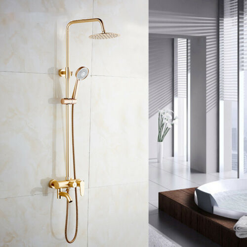 Gold Rain Bathroom Shower Head System Mixer Hand Spray Shower Faucet Tap