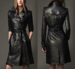Women-039-s-Genuine-Leather-Pure-Soft-Lambskin-Long-Overcoat-Trench-Coat-Jacket-Belt