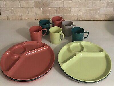 camping atomic era Vintage Gothamware Divided Plates picnicware retro USA gray kitchen picnic green set of 4-1960s luncheon