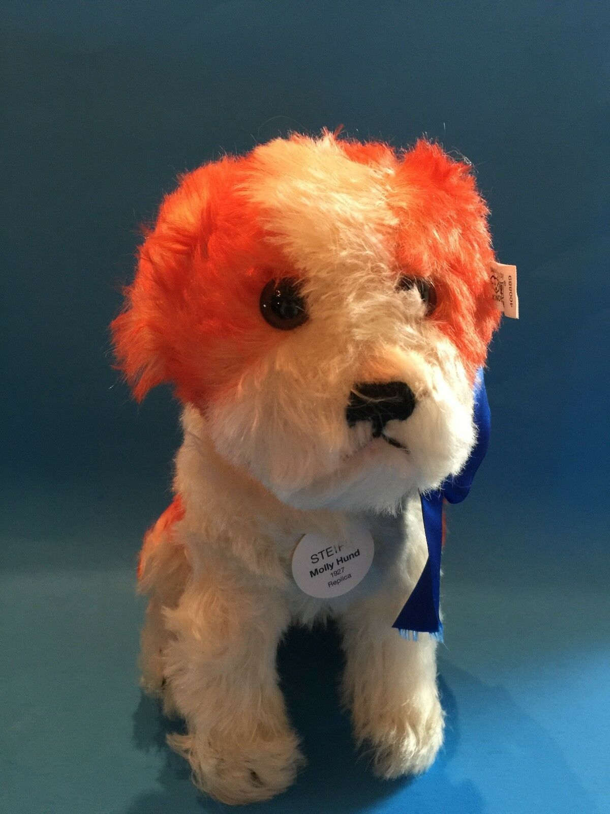 STEIFF  MOLLY DOG 1927  EAN 400889 rosso TIPPED MOHAIR-SITTING, TURNABLE HEAD