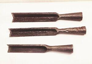 Vtg-antique-large-cast-iron-wood-socket-chisel-set-lot-3pcs-woodworking-tools