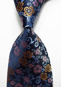 New-Classic-Floral-Blue-Gold-Pink-JACQUARD-WOVEN-100-Silk-Men-039-s-Tie-Necktie