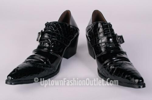 New Men/'s Fiesso Black Patent Leather Pointed Toe Dress Shoes w//Buckle  FI 6729