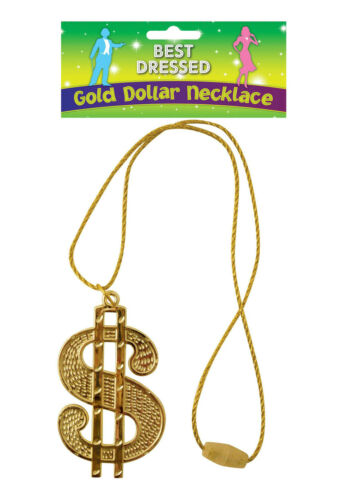 DOLLAR MEDALLION STRING CORD HIP HOP 1980/'S FANCY DRESS PARTY ACCESSORY