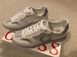 guess silver glitter trainers