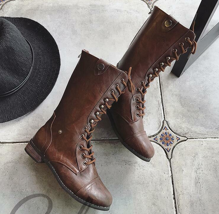 Black Women Shoes Flat Rough Bottomed Tie Rough Flat With Martin Riding Leather High Boots 0a1a51