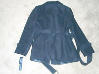 Nicole Miller Faux Wool Womens Peacoat-size-large-color-black