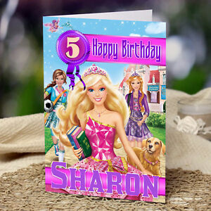 BARBIE PRINCESS PERSONALISED Birthday Card Daughter Sister Niece