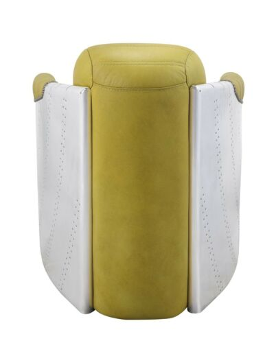 Acme Furniture Brancaster Top Grain Leather Aluminum Yellow Accent Chair