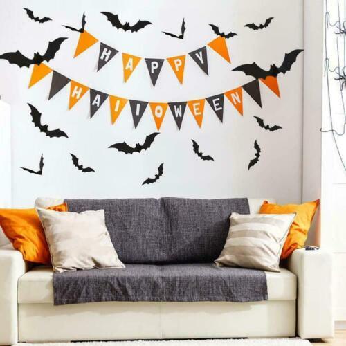 12Pcs 3D Halloween DIY Bat Wall Stickers Black Decal Party Decor Home Z9A0