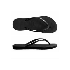 3384d05569af Image is loading Womens-Havaianas-Slim-Metal-logo-Black-Silver-Sandal-