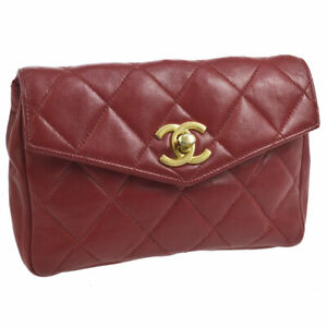 a441e78b5531be Auth CHANEL Quilted CC Belt Waist Bum Bag Red Leather AK24189b | eBay