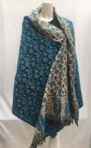 BLUE COLOUR UNISEX Tibetan 100/% Yak Wool Shawl  Ethical Hand loomed Reversible