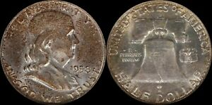 1958-D-Franklin-Half-Dollar-NGC-Toner-Silver-Obsolete-US-Old-Type-Coin-Crusty