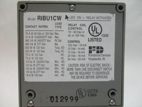 10//30V 120V RIB Functiobal Devices RIBU1CW Enclosed Relay 15A SPDT HI//LOW SEP