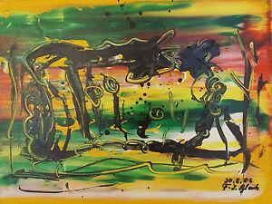 """ Composition Abstraite L 5 "" Acrylique / Lwd.. Sign. / Dat. Franz J. Blank 06"