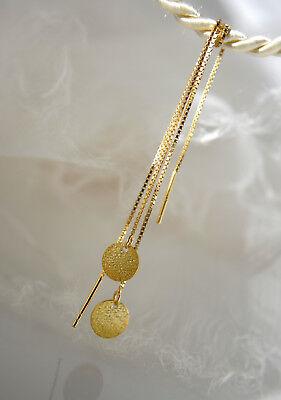 Goldplättchen Ohrdurchzieher Ohrhänger Ohrringe Box Kette 925 Vergoldet