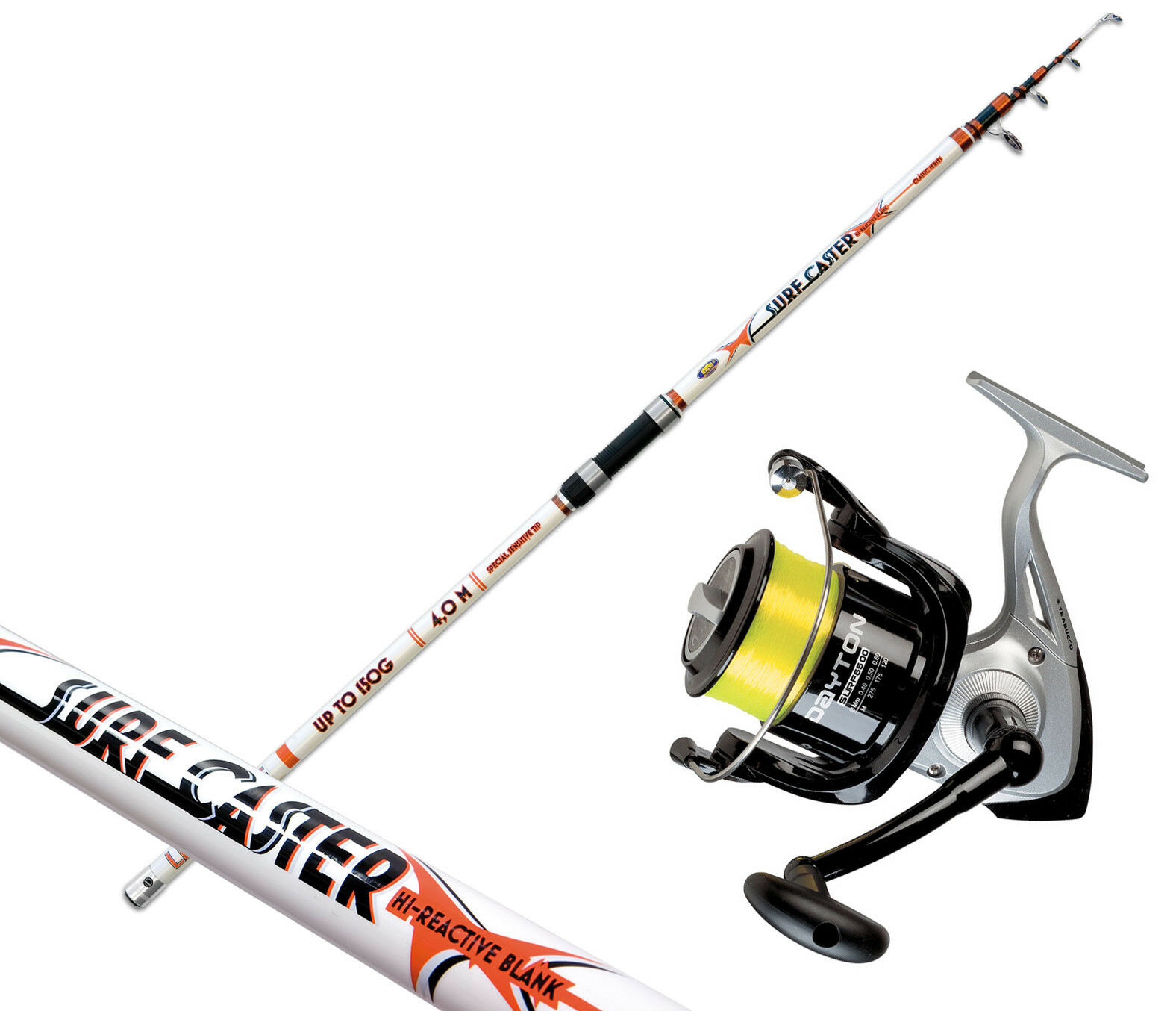 KP3196 Kit Pesca Surfcasting Canna Surfcaster 4 m + Mulinello Dayton 6500 RN