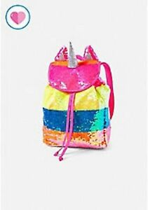 Image is loading NWT-Justice-Rainbow-Unicorn-MINI-Flip-Sequin-Backpack- 0a364784a7e69