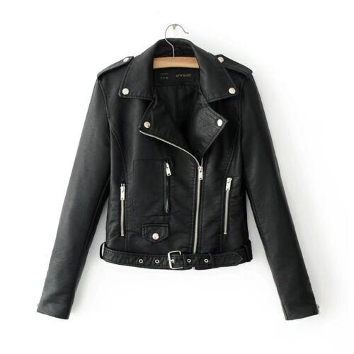 UK Womens PU Leather Slim Biker Jacket Ladies Zipper Lapel Coat Winter Outwear