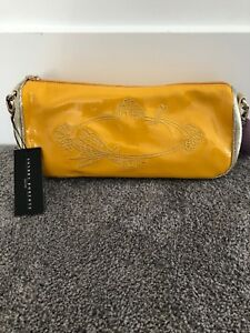Yellowamp; Sondra Clutch purse handbagSr170 Roberts Leather Gold Nwt nwm0N8