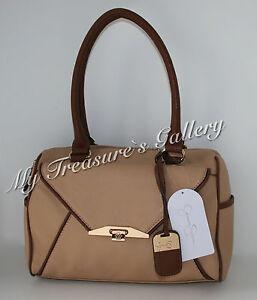 NWT-Jessica-Simpson-Paula-Sesame-Whiskey-Satchel-Tote-Purse-Shoulder-Handbag