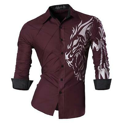 Jeansian Men's Fashion Long Sleeves Slim Dress Shirts Casual 6 Colors Z030