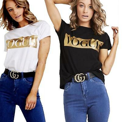 NEW Womens LADIES Short Sleeve Vouge Slogan Printed Casual T 8-26