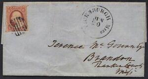 DE U. S. 1855 3 ¢ Borrosa Impresión Aburrido Rosa Rojo Tipo II Atado Cancelado