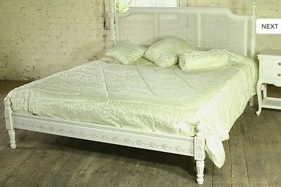 Mahogany Regency Rattan 5' King Size Low End French Antique White Bed New Home, Furniture & Diy