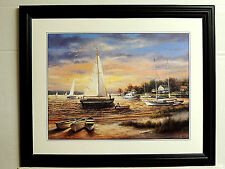 SAILBOAT PICTURE PIROGUE SEASCAPE BEACH LAKE FRAMED PRINT 16X20