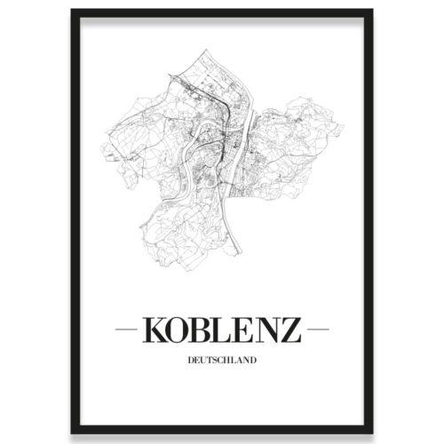 Weiß Kunstdruck Plan Map JUNIWORDS Stadtposter Koblenz